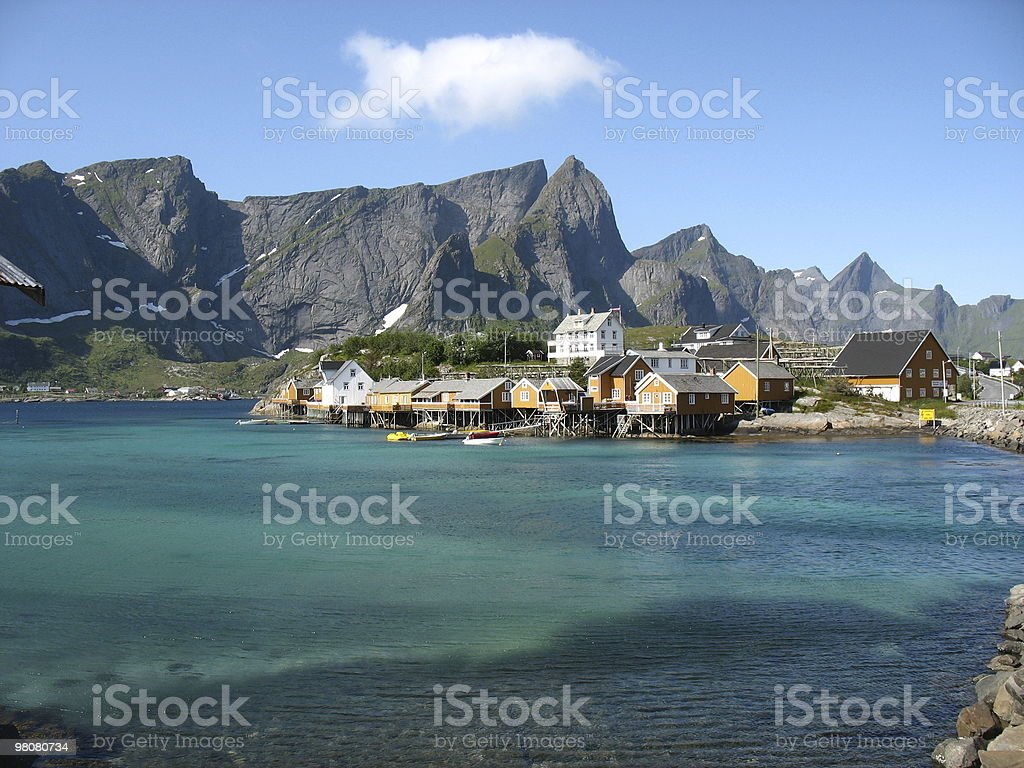 Yellow cabins in Lofoten royalty-free stock photo
