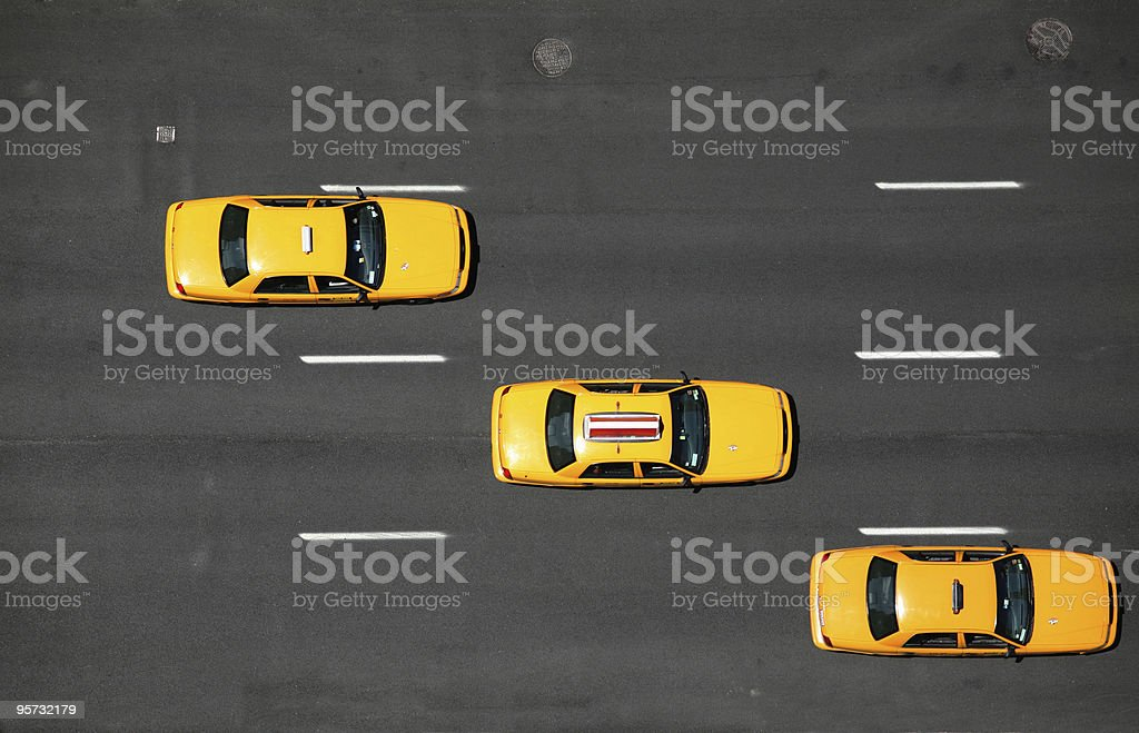 NYC yellow cabs - aerial stock photo