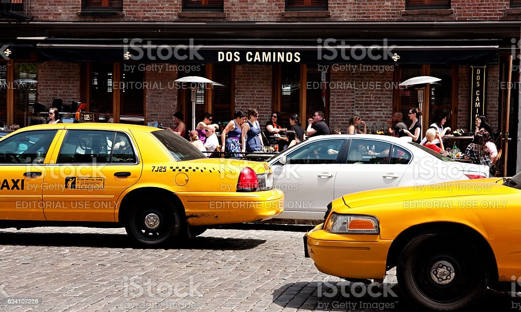 Yellow cabs in Meat Packing District, New York City stock photo
