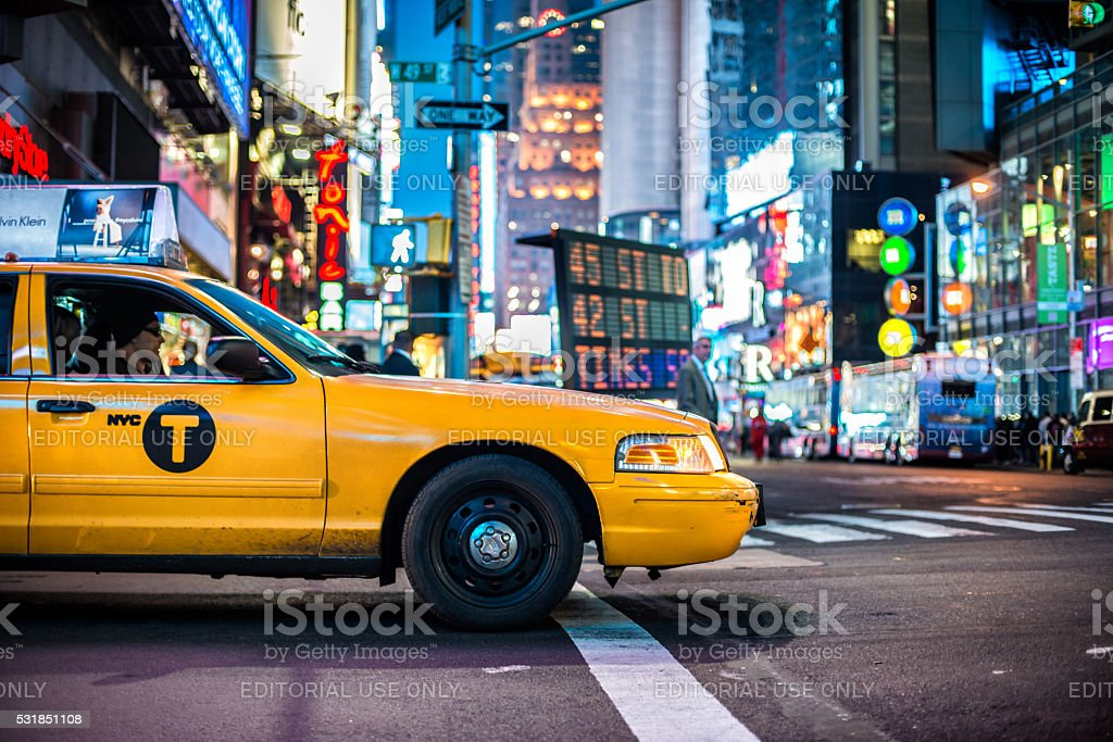 Yellow cabs in New York City Time Square stock photo