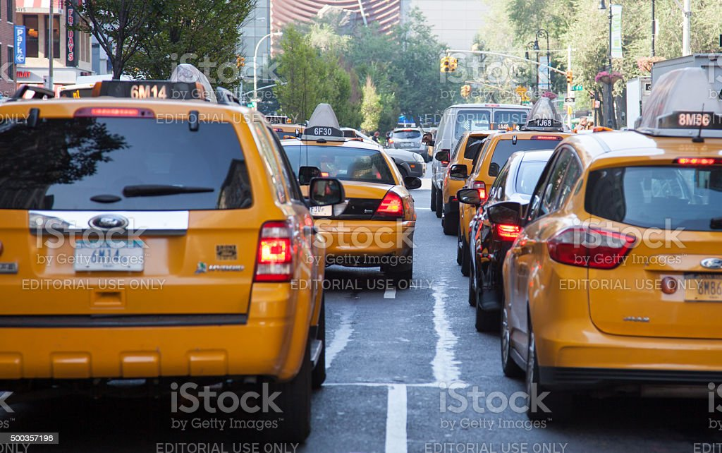 Yellow cabs on street sof New York City stock photo
