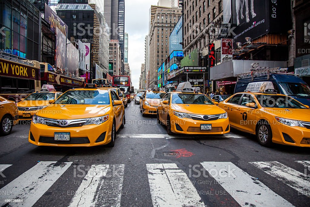 Yellow cabs on streets of Manhattan stock photo