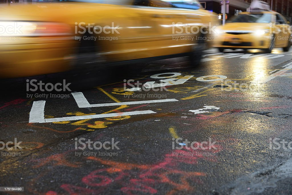 Yellow cabs on the streets of New York City royalty-free stock photo