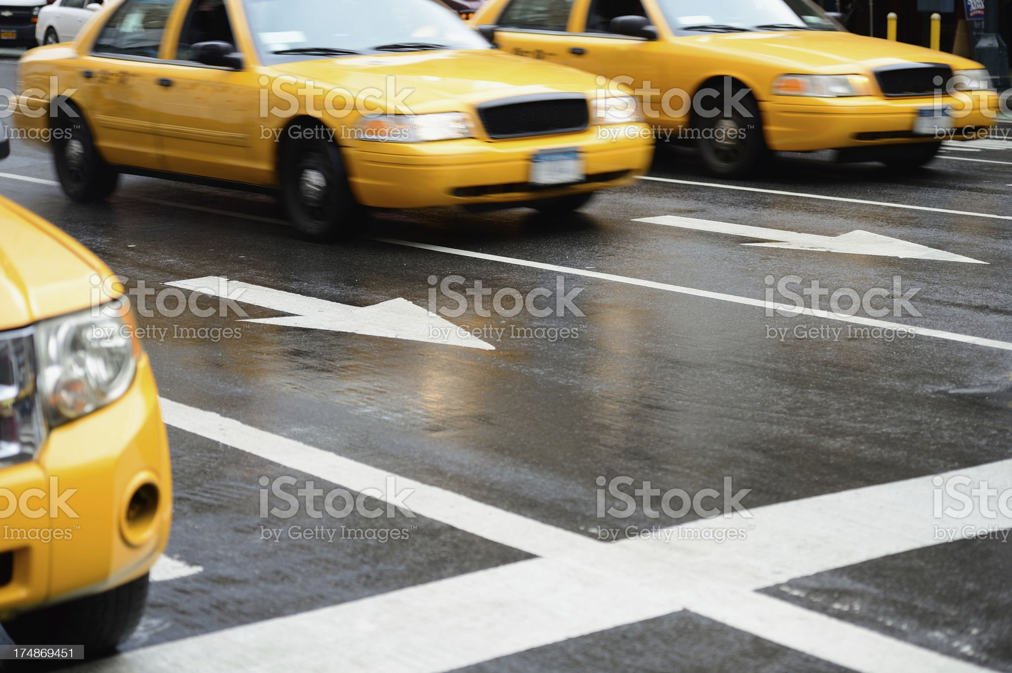 Yellow cabs taxis on the streets of New York City royalty-free stock photo
