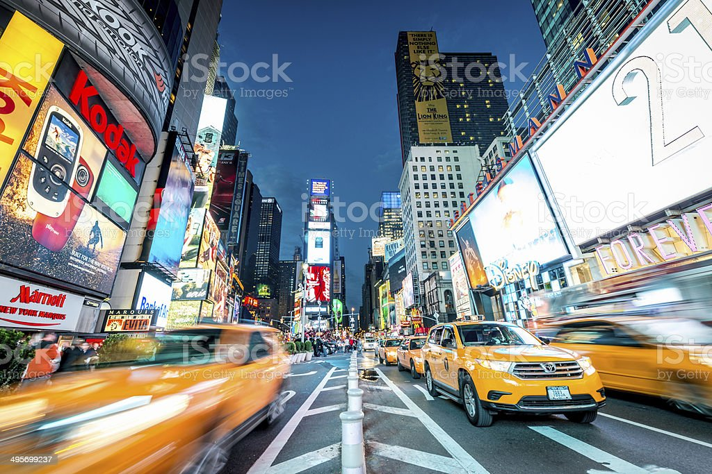 Yellow Cabs Times Square NYC stock photo