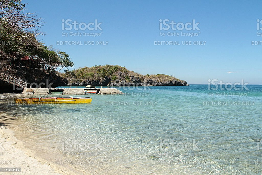 Yellow Canoe in Hundred Islands, Philippines royalty-free stock photo