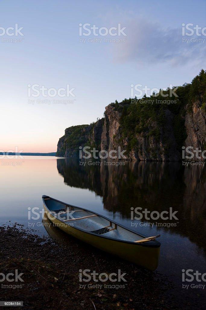 Yellow Canoe On Edge royalty-free stock photo