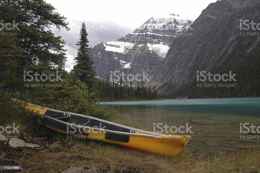 Yellow Canoe stock photo