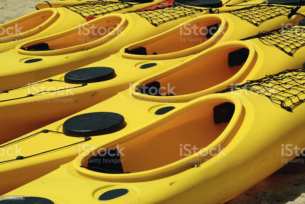 yellow canoes royalty-free stock photo