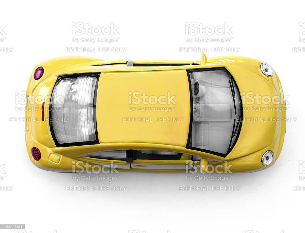 Yellow car from above stock photo
