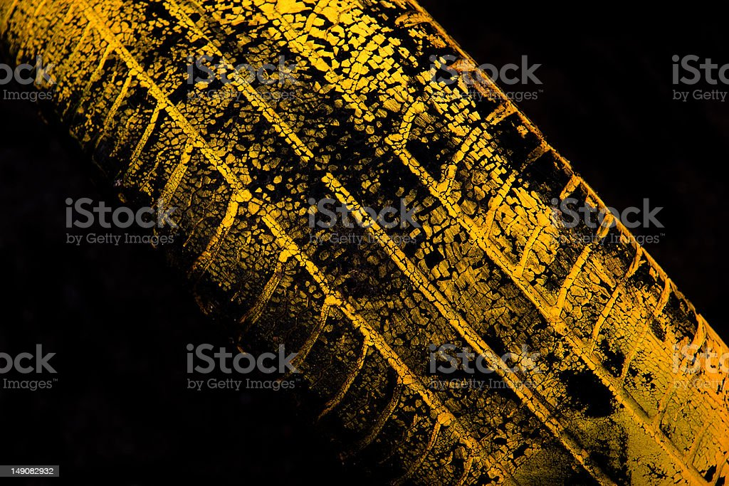 Yellow car tire print royalty-free stock photo
