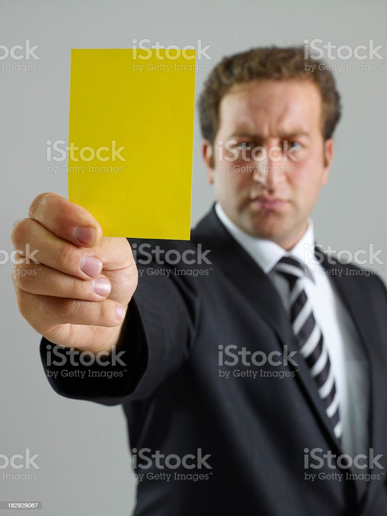yellow card royalty-free stock photo