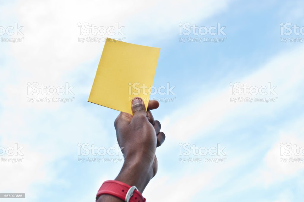 Yellow Card stock photo