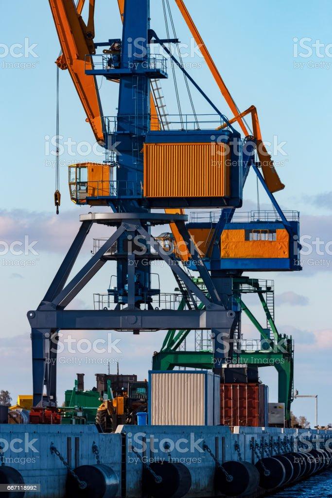 Yellow cargo cranes stock photo