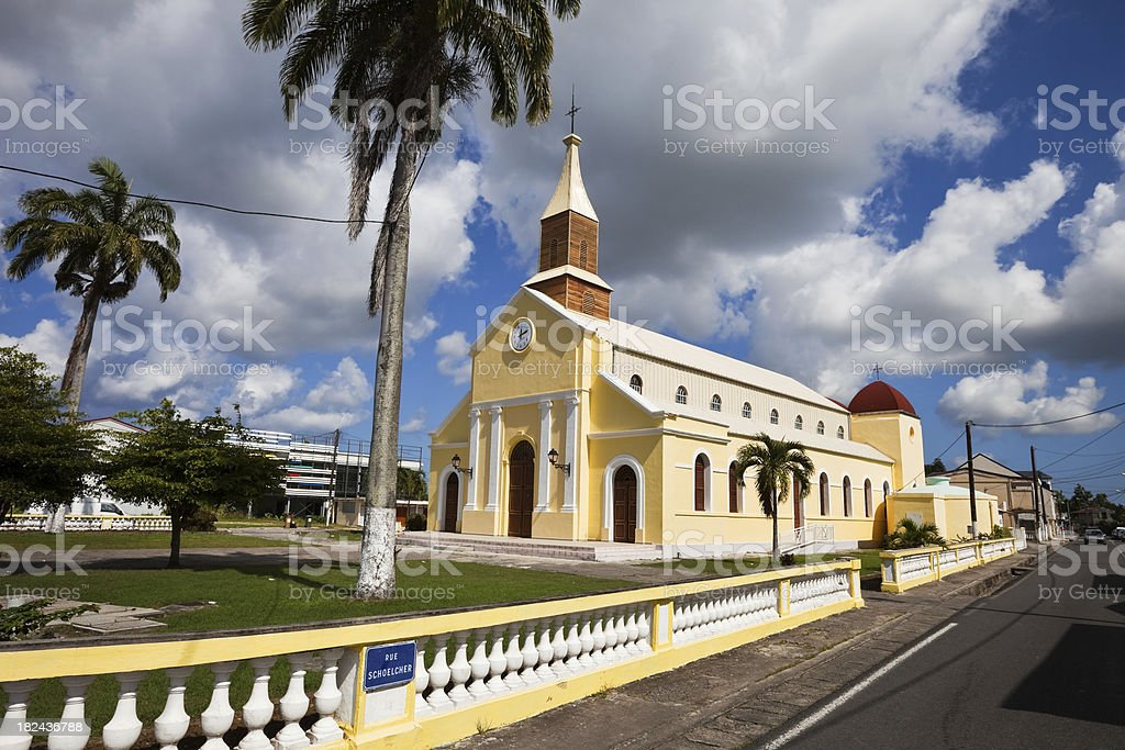 Yellow Caribbean Church royalty-free stock photo