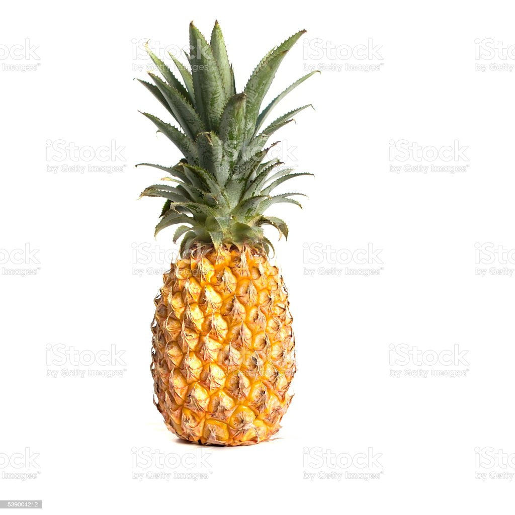 Yellow caribean Pineapple isolated on white stock photo