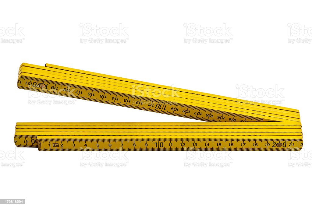 Yellow carpenter rule isolated on white background stock photo