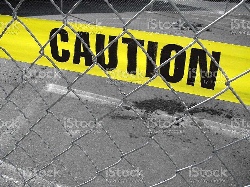 Yellow Caution tape stock photo