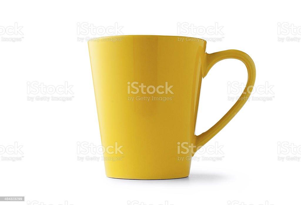 Yellow ceramic cup stock photo