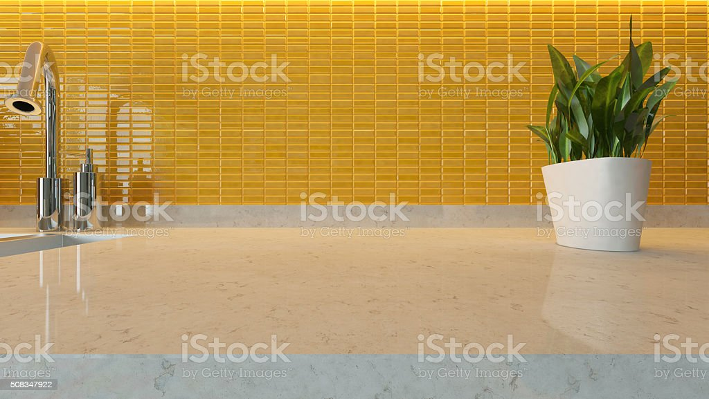 yellow ceramic modern kitchen design stock photo