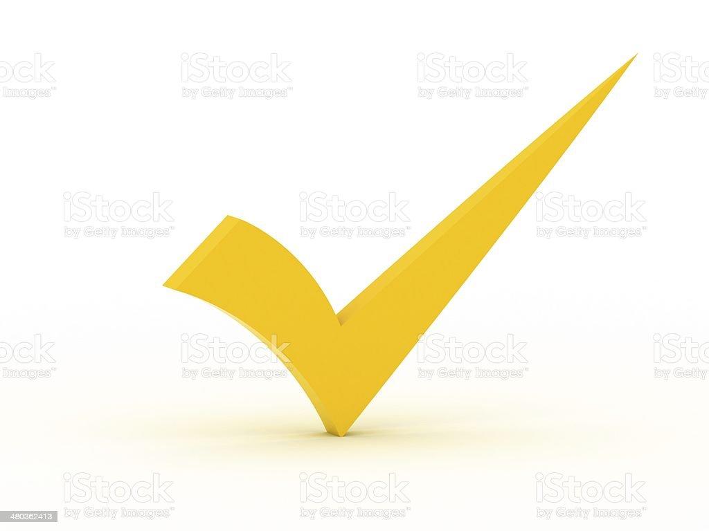 Yellow checkmark stock photo