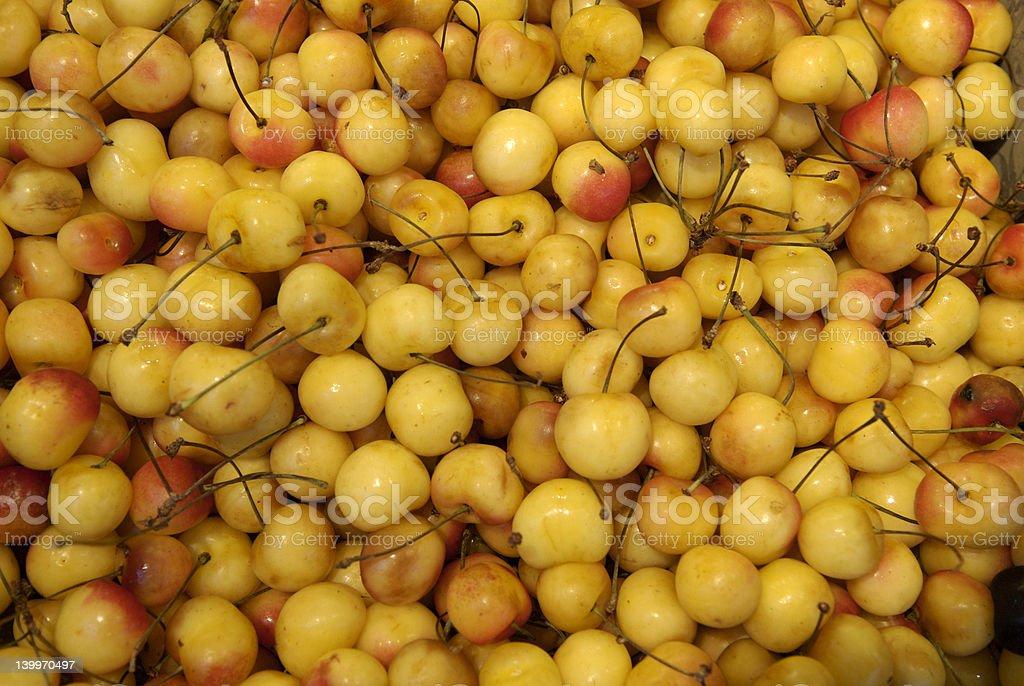 Yellow cherries! stock photo