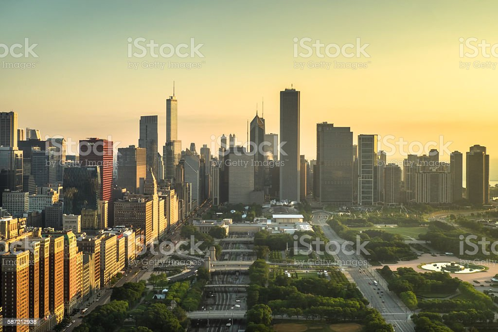 Yellow Chicago stock photo