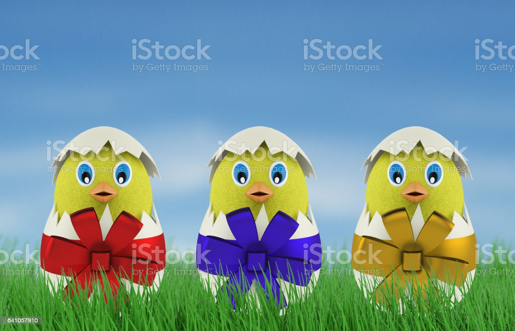 yellow chicken in a easter egg. 3d render stock photo