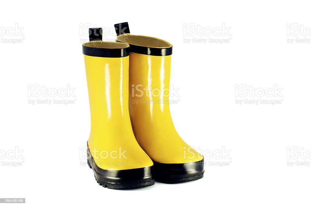 Yellow children`s boots royalty-free stock photo