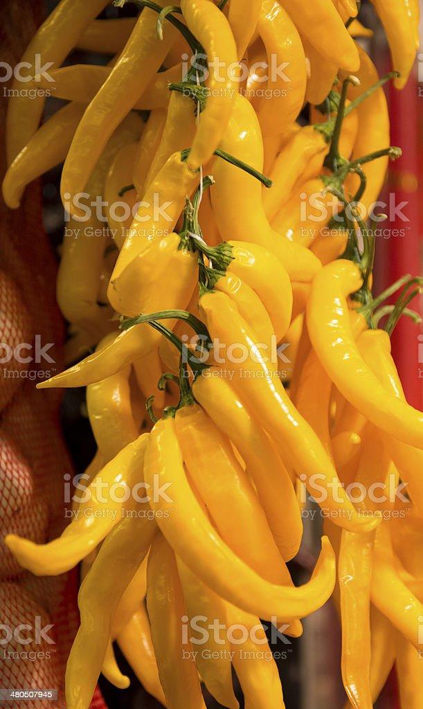 Yellow chillies in the Boqueria Market stock photo