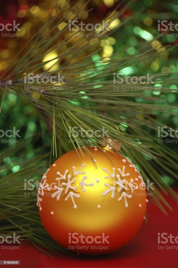 Yellow christmass ball royalty-free stock photo