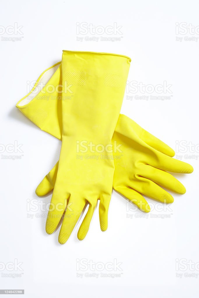 yellow cleaning gloves royalty-free stock photo
