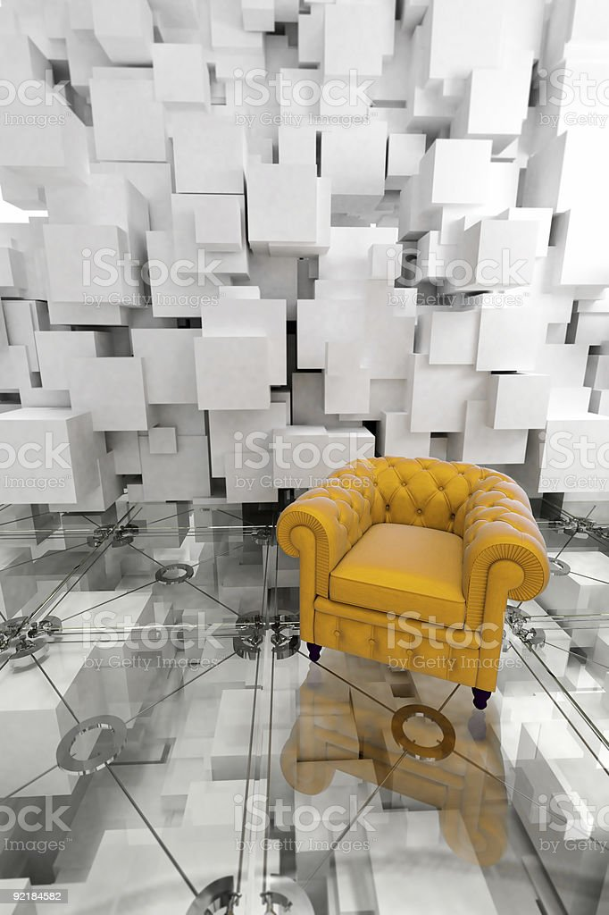 Yellow club armchair on designer interior royalty-free stock photo