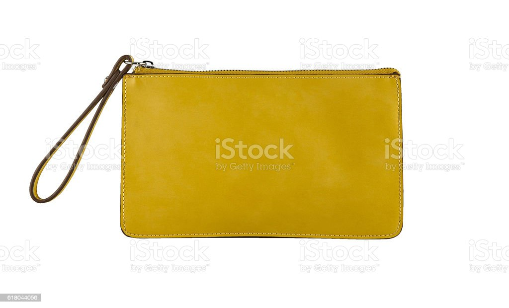 Yellow clutch bag stock photo