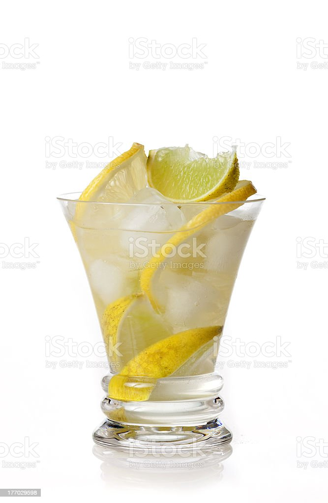 yellow cocktail with lemon on white background royalty-free stock photo