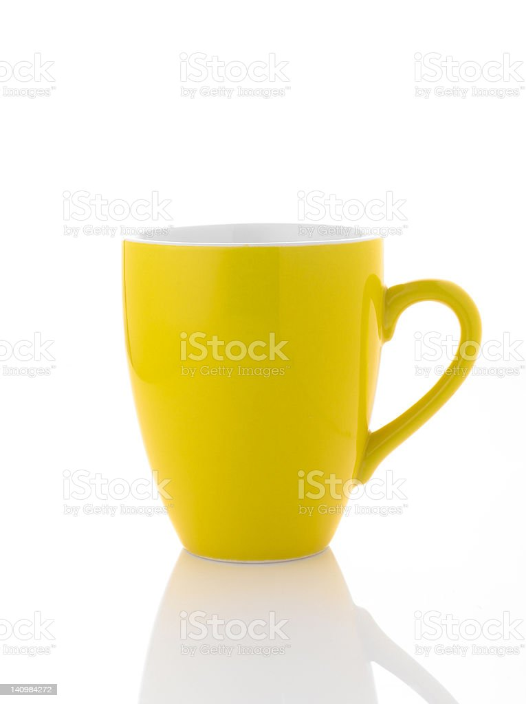 Yellow coffee cup on white background royalty-free stock photo