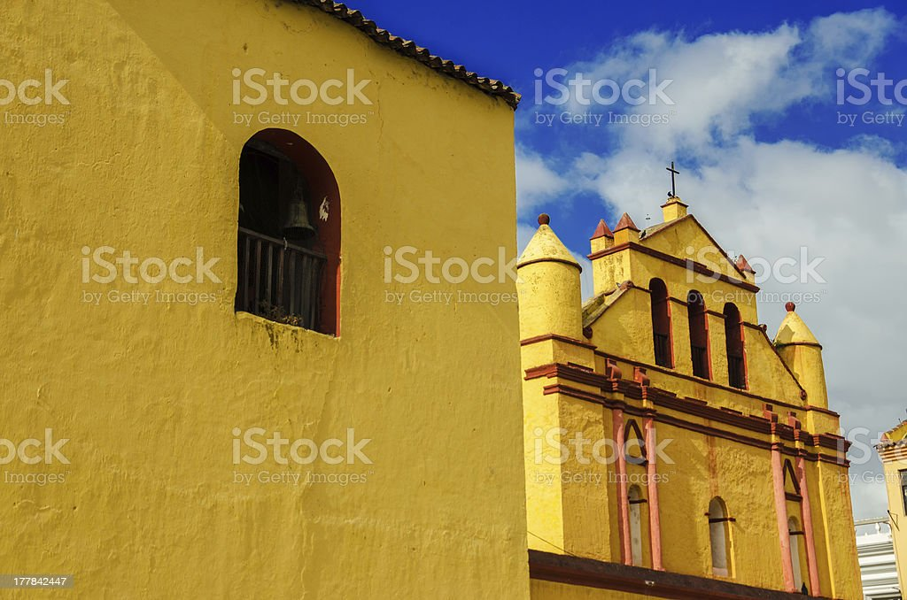 Yellow Colonial Church royalty-free stock photo