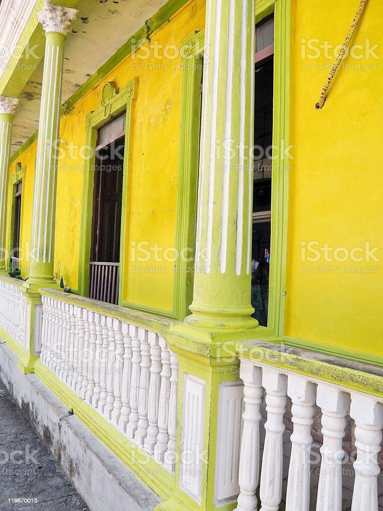 Yellow Colonial House, Baracoa, Cuba royalty-free stock photo