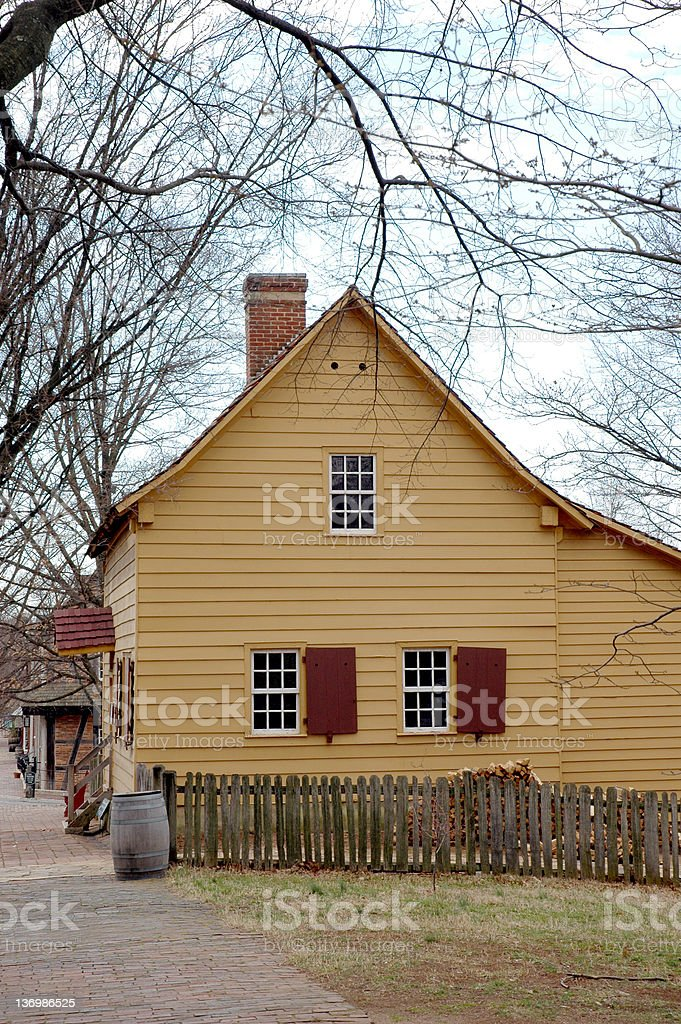 Yellow Colonial House, Old Salem royalty-free stock photo