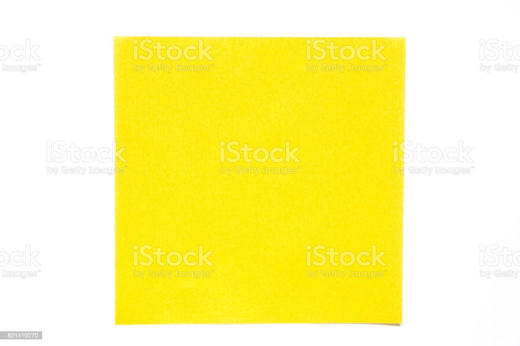 Yellow color paper sheet on white background used for decoration or design element stock photo