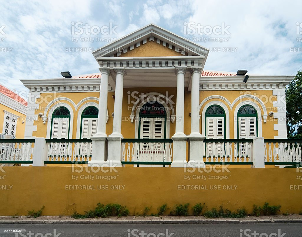 Yellow Coloured Colonial Architecture in Willemstad, Curacao, Netherlands Antilles stock photo