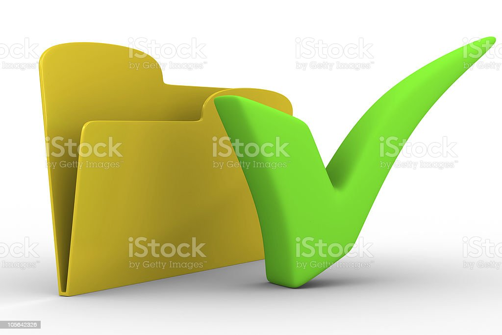 Yellow computer folder on white background. Isolated 3d image royalty-free stock photo
