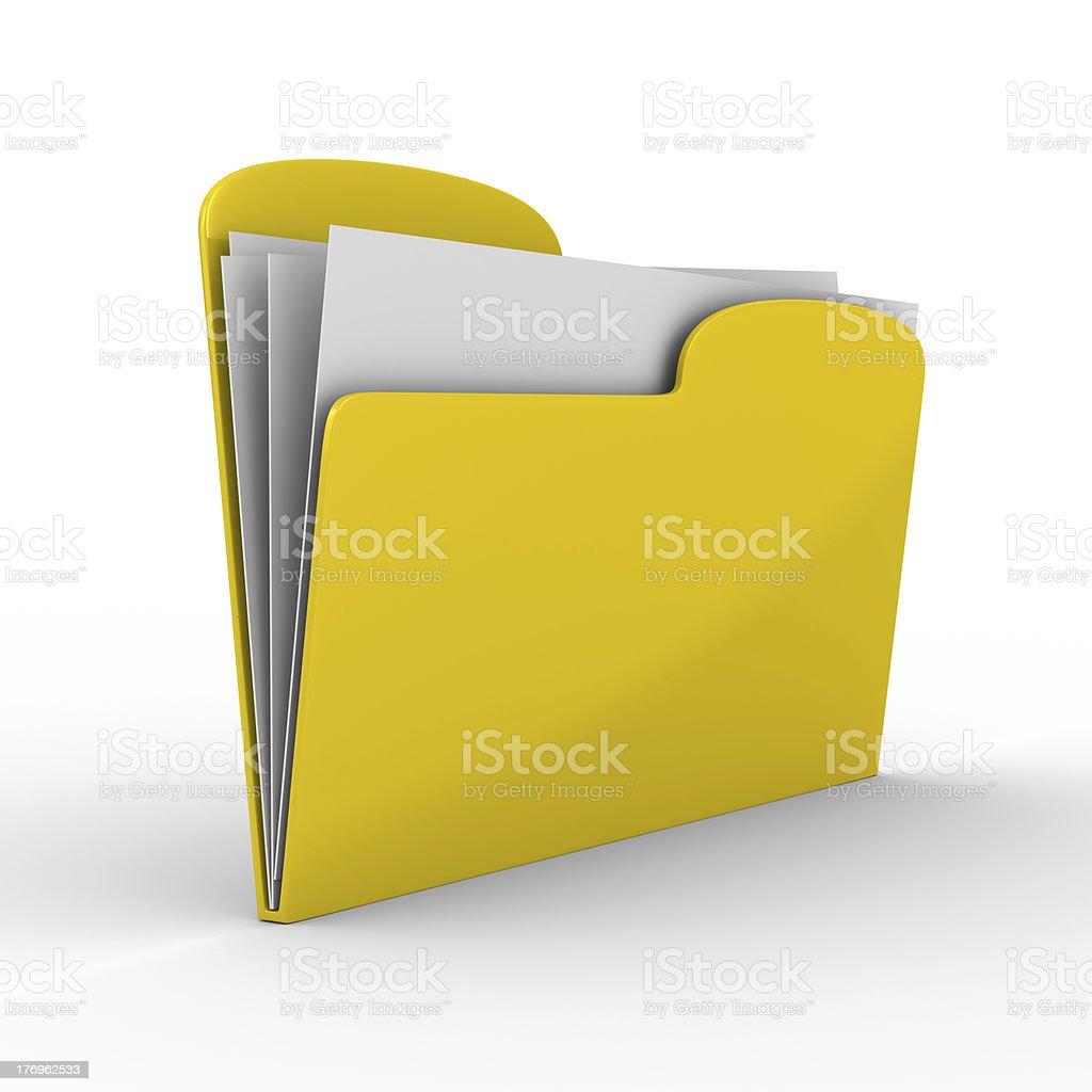 Yellow computer folder on white background. Isolated 3d image stock photo