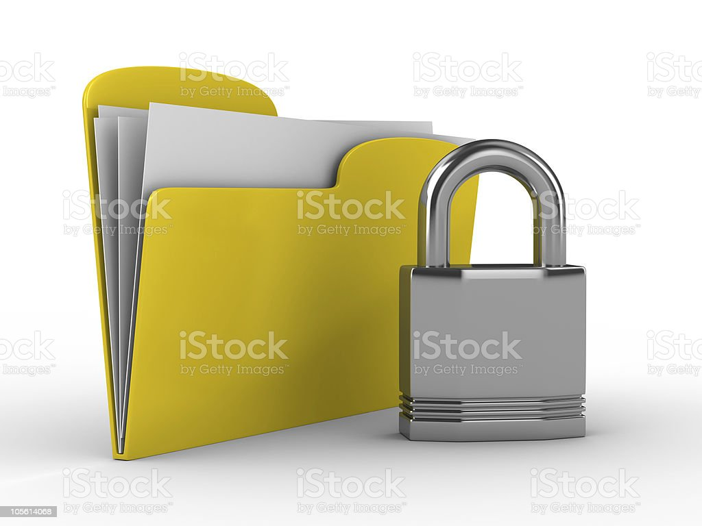 Yellow computer folder with lock. Isolated 3d image royalty-free stock photo