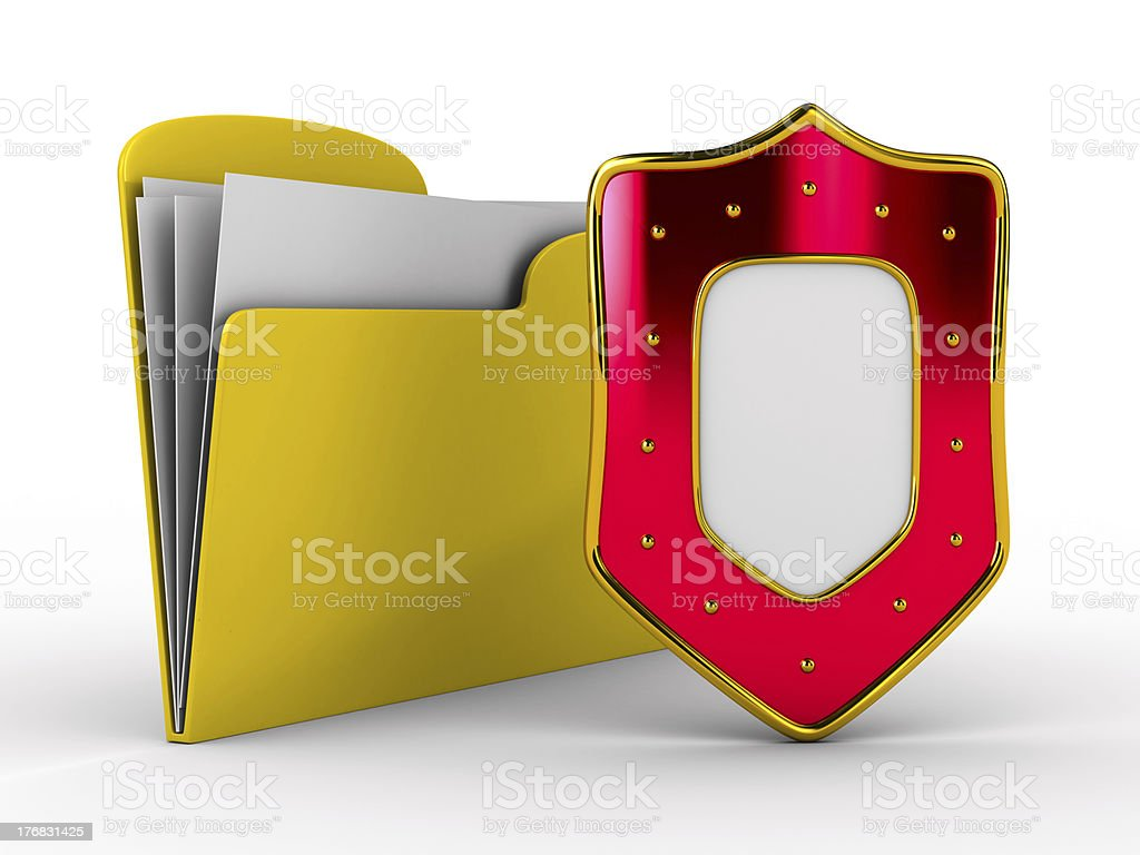 Yellow computer folder with shield. Isolated 3d image stock photo