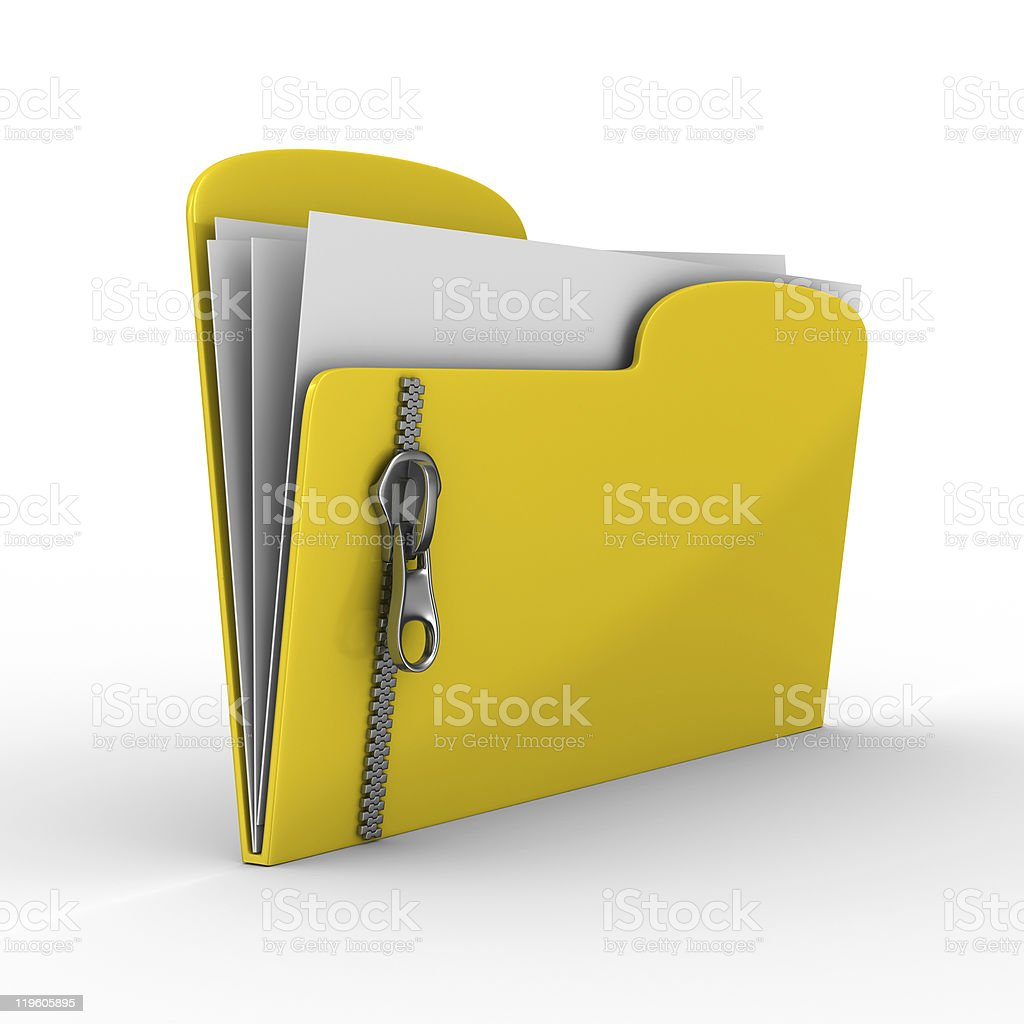 Yellow computer folder with zipper. Isolated 3d image stock photo