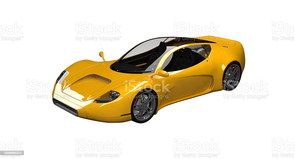 Yellow concept sports car stock photo