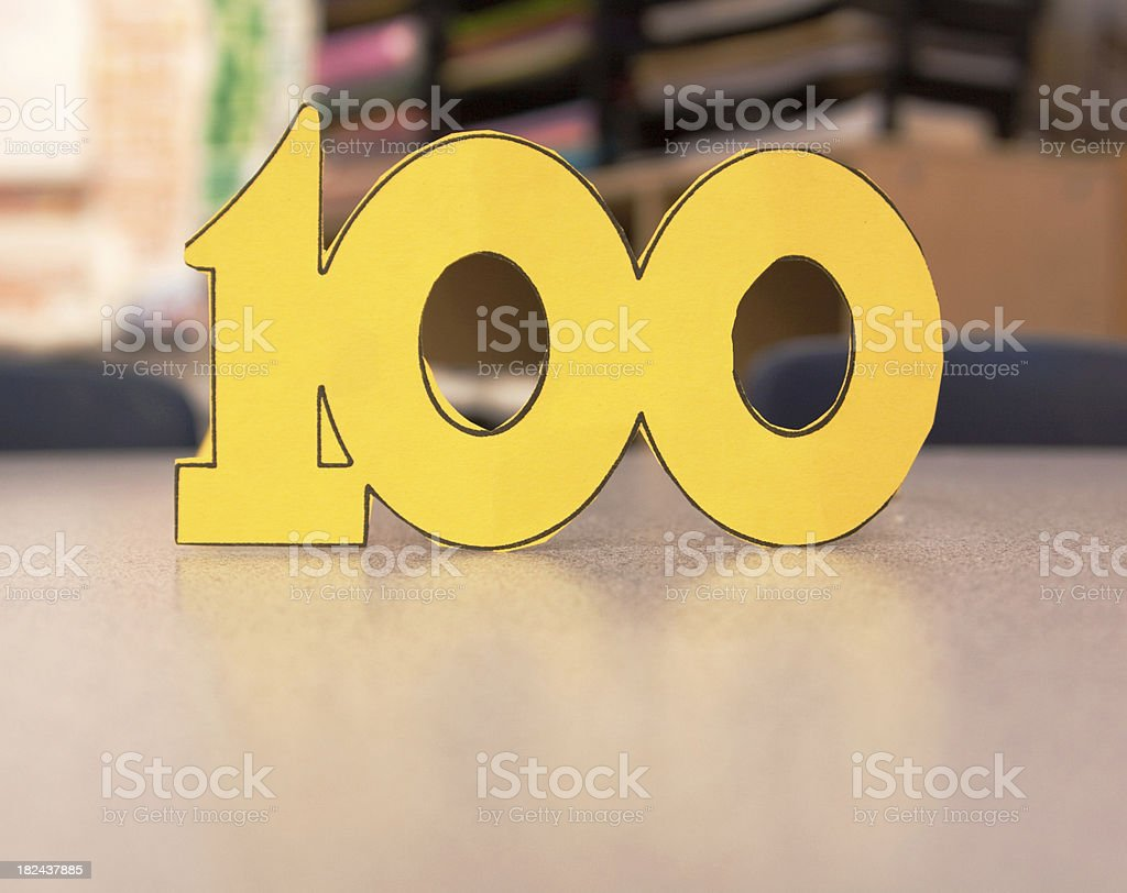 Yellow Construction Paper One Hundred royalty-free stock photo