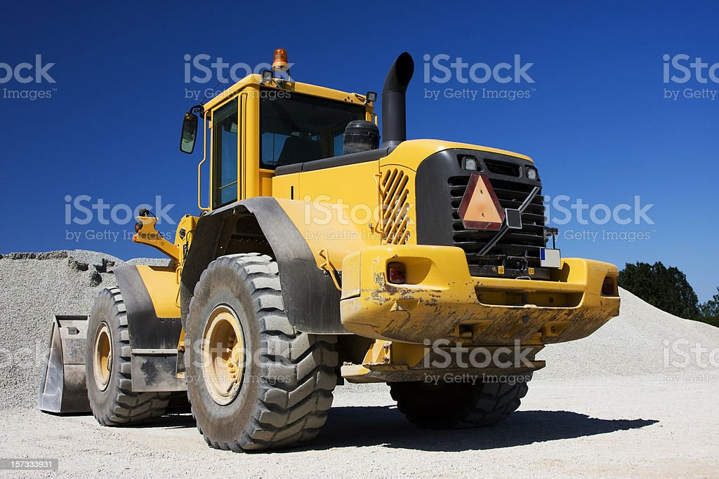 Yellow construction vehicle stock photo