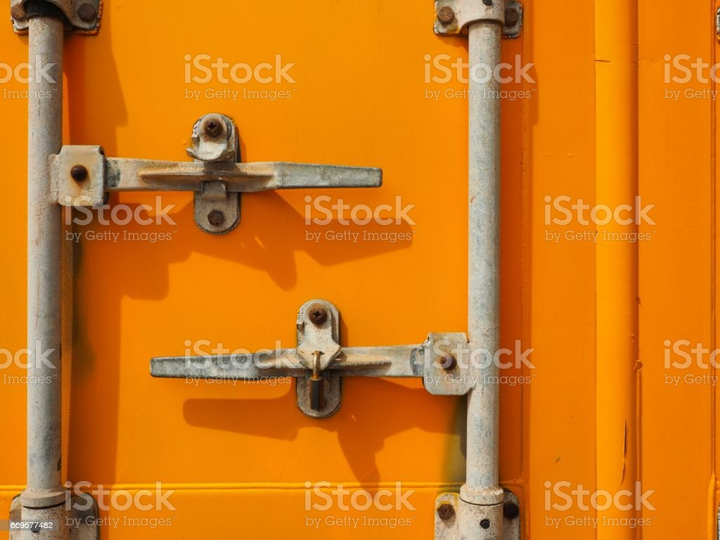 Yellow container door on warehouse stock photo